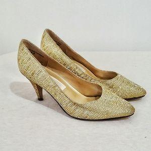 Pierre Dumas Golden Mini Heels